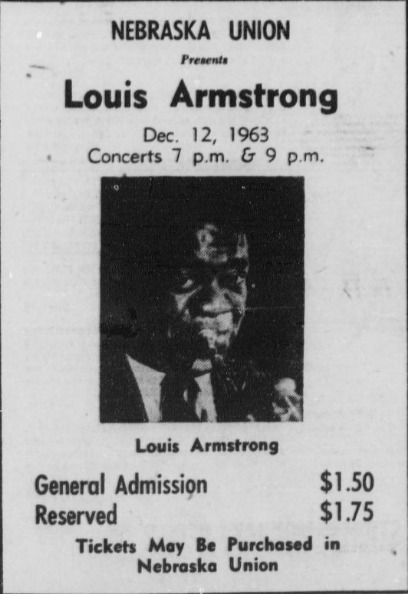 Newspaper advertisement, Louis Armstrong