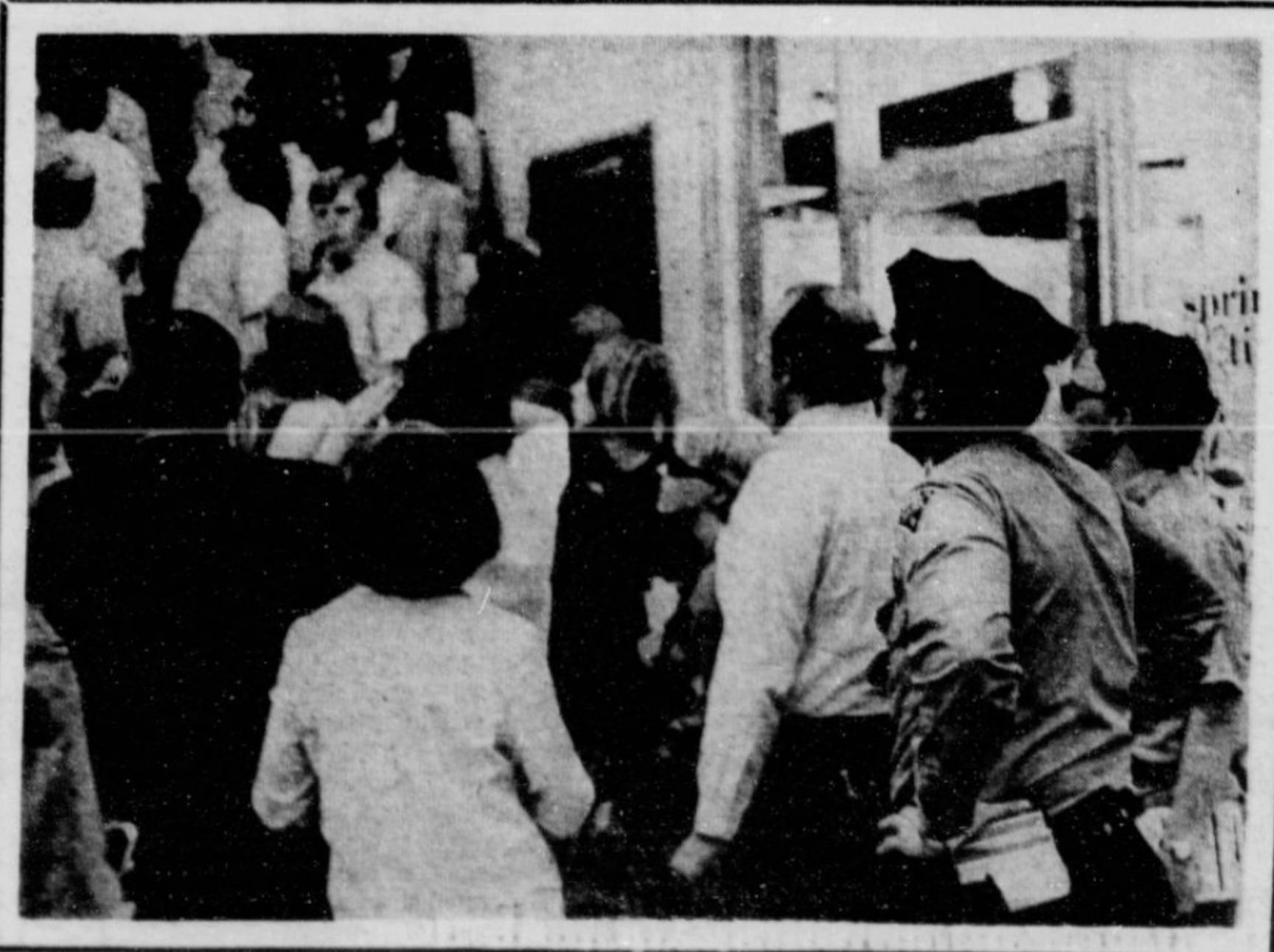 Newspaper photo, ROTC sit-in