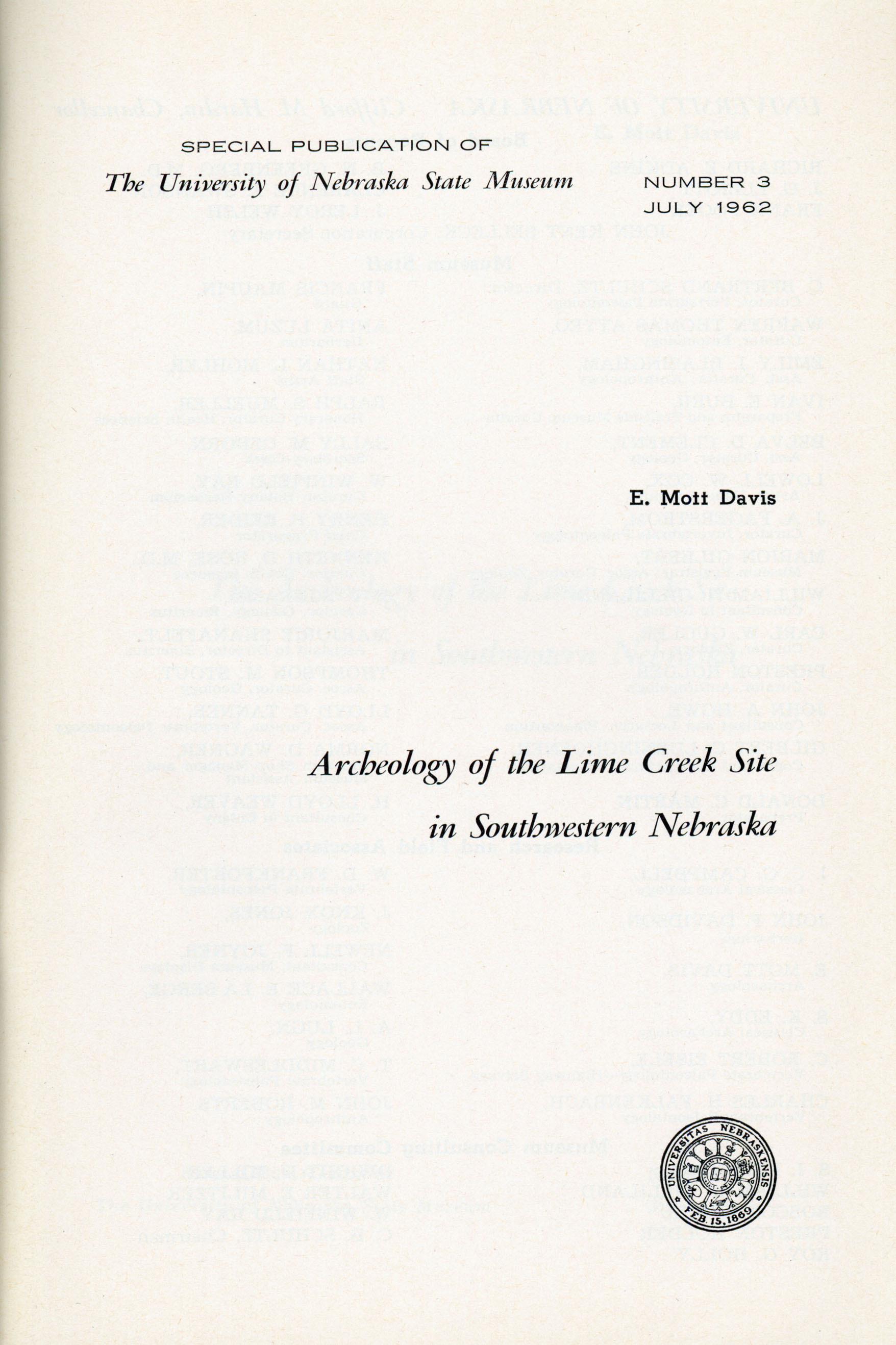 "Cover, ""Archeology of Lime Creek Site in Southern Nebraska"""