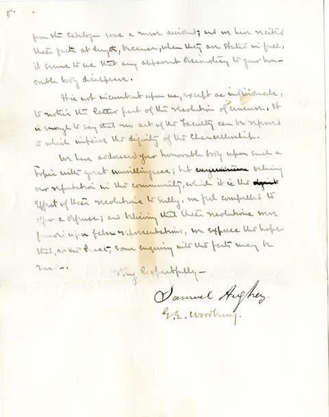 Letter from Aughey and Woodberry to the Board of Regents (5)
