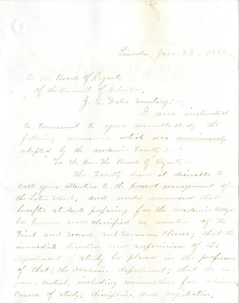 Letter George E. Howard to the Board of Regents (1)