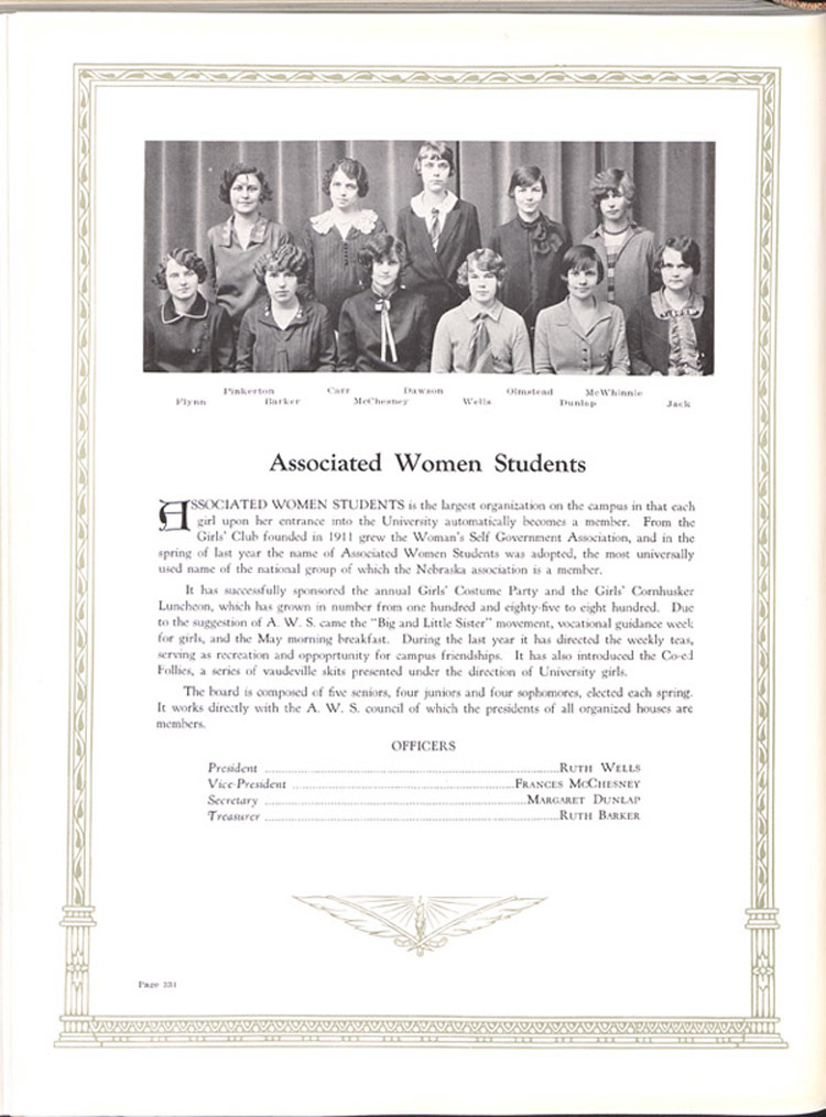 Yearbook page, Association of Women Students