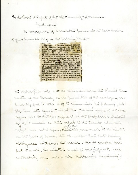 Letter from Aughey and Woodberry to the Board of Regents (1)
