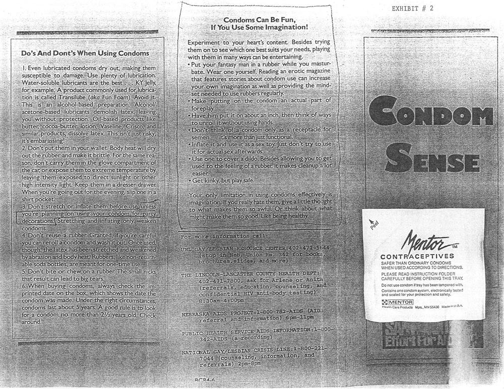 "Pamphlet titled ""Condom Sense"""