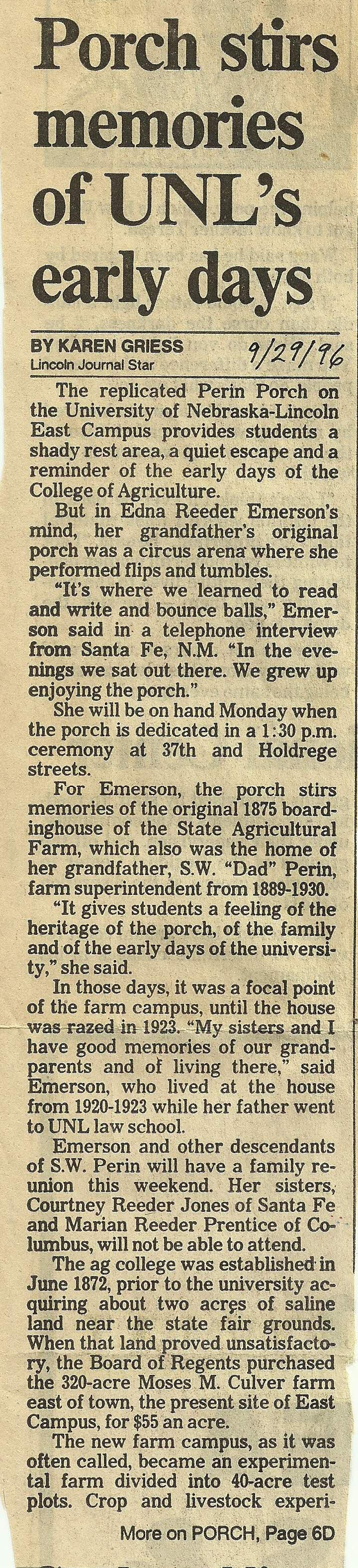 """Article, """"Porch stirs memories of UNL's early days"""""""