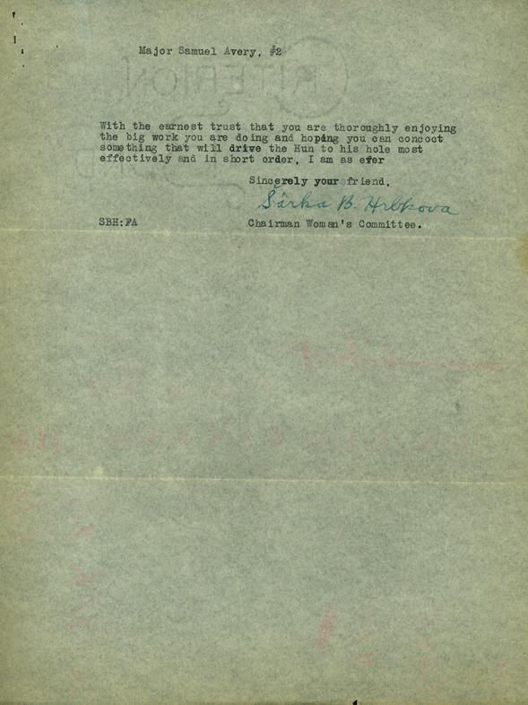 Letter from Prof. S. Hrbkova to Major Avery