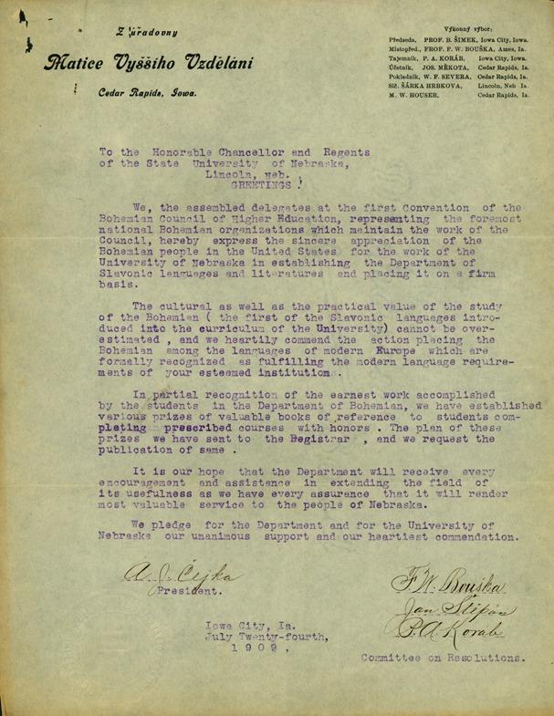 Letter from Matice Vyššího Vzdělání, Bohemian Council of Higher Education to Chancellor Avery and Board of Regents