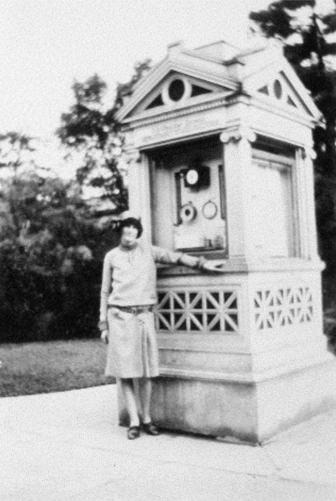 Mari Sandoz and kiosk