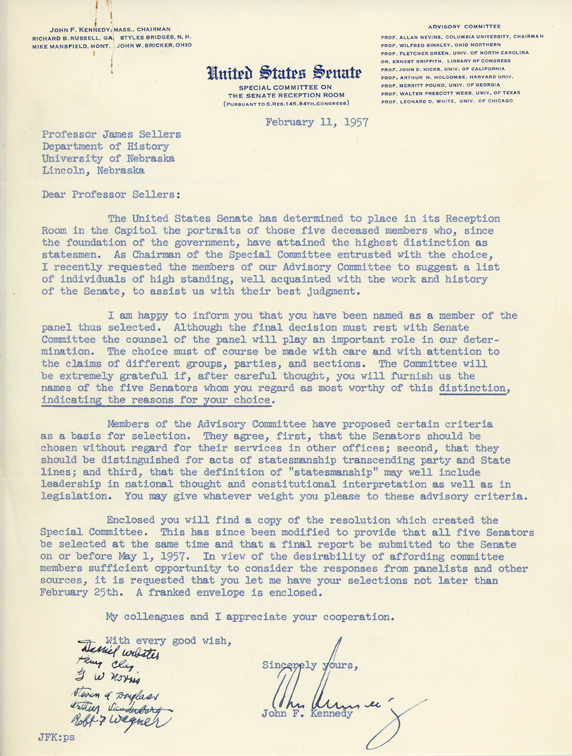 Letter, John F. Kennedy to James L. Sellers