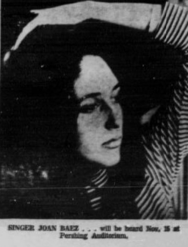 Newspaper photo, Joan Baez