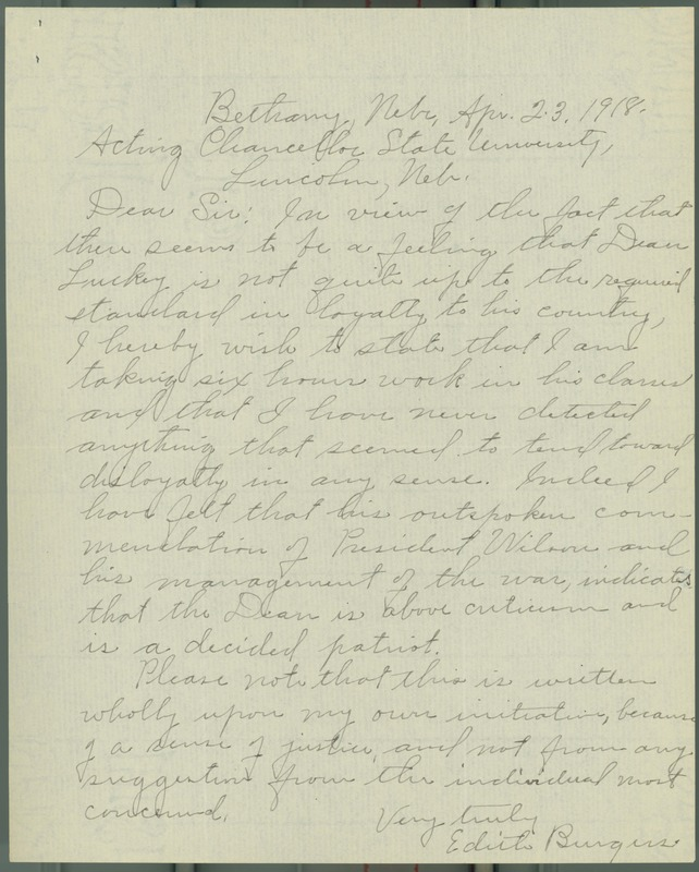 Letter, Edith Burgess to Acting Chancellor State Univeristy