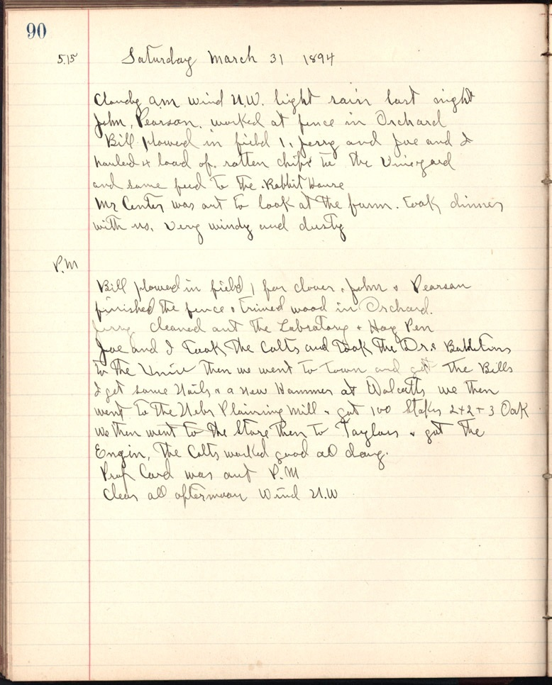 Journal entry, S. W. Perin