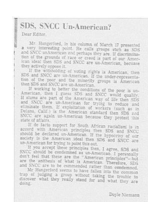<h2>SDS, SNCC Un-American?</h2>