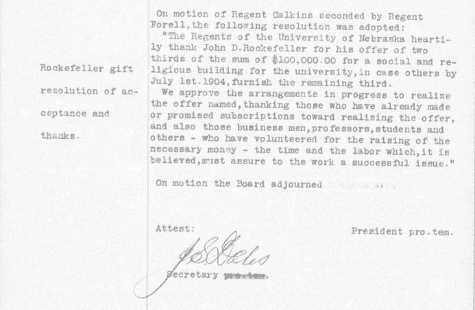 Note on Rockefeller, Board of Regents minutes
