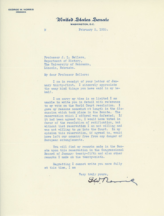 Letter, George W. Norris to James L. Sellers