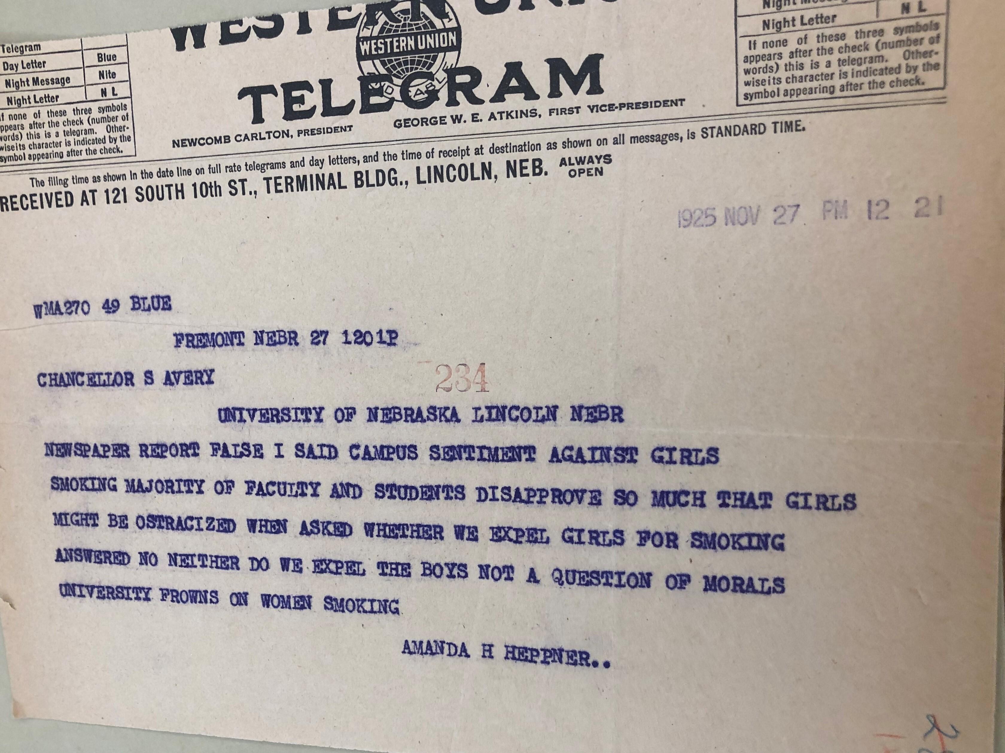Telegram, Amanda Heppner to Samuel Avery