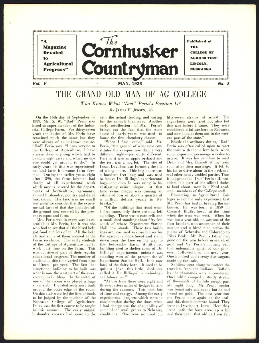 """Magazine article, """"The Grand Old Man of Ag College"""""""