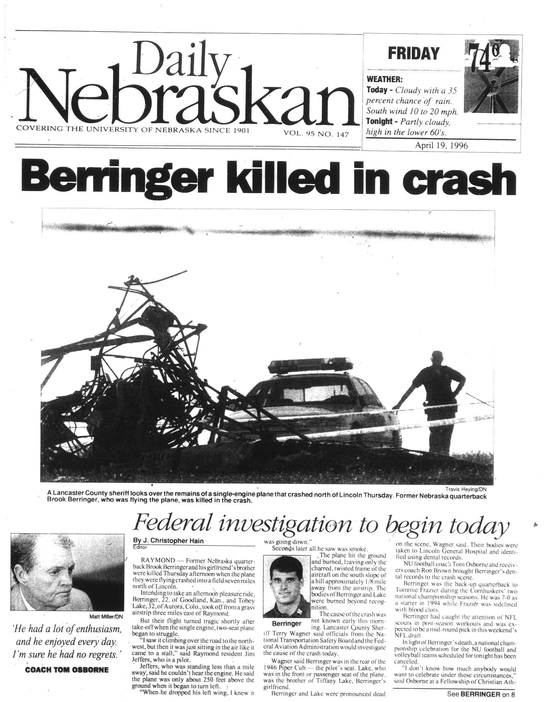 Daily Nebraskan: Berringer Killed in Crash