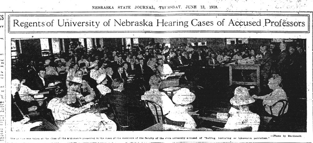Regents of University of Nebraska Hearing Cases of Accused Professors