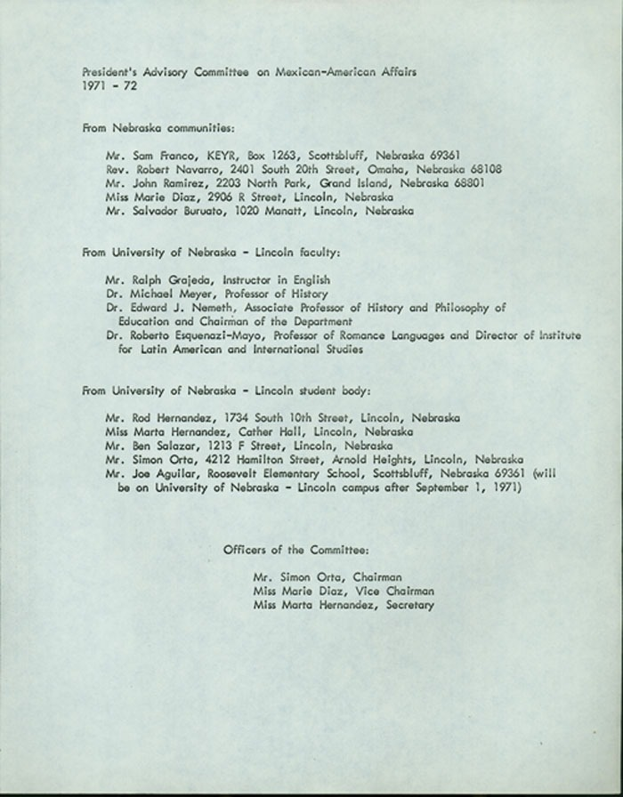 Member list, Presidents Advisory Committee on Mexican-American Affairs