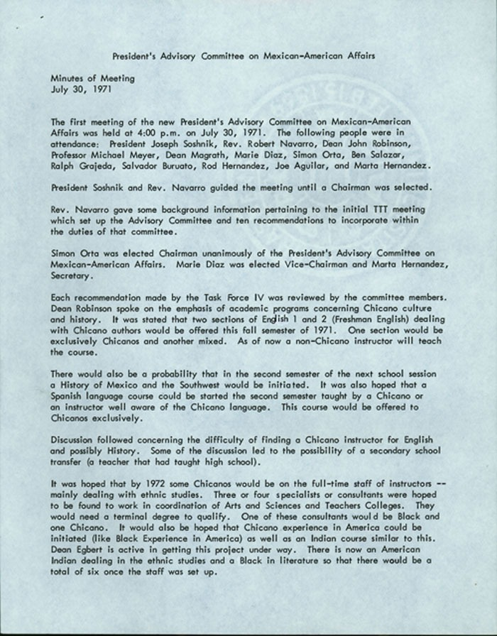 President's Advisory Committee on Mexican-American Affairs meeting minutes
