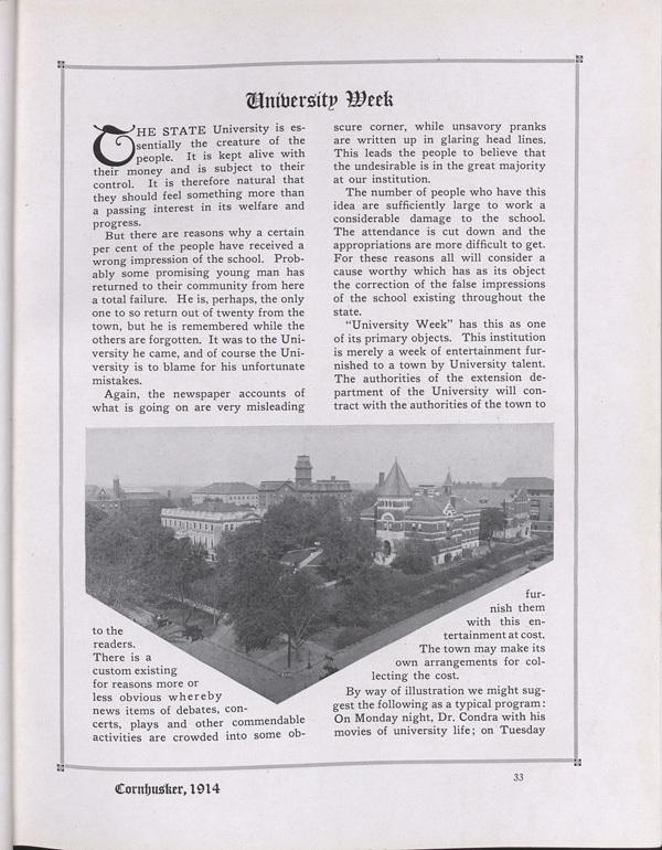 University Week, Cornhusker Annual 1914