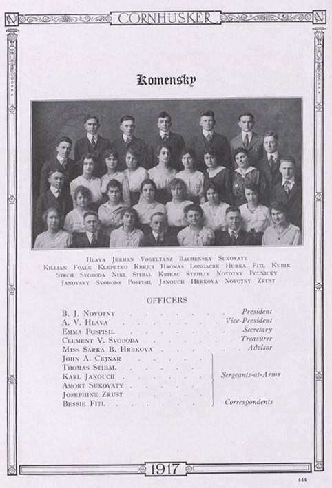 The Komensky Club 1917