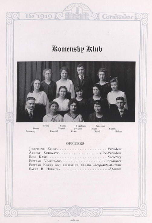 The Komensky Club 1919