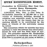 "Article, ""Spurn Rockefeller Money - Prejudice in Nebraska May Cost University Many Thousands"""