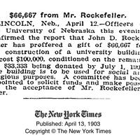 "Article, ""$66,667 from Mr. Rockefeller"""