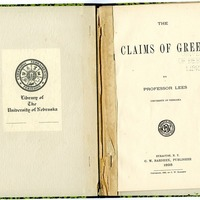 "Article, ""The Claims of Greek,"" title page"