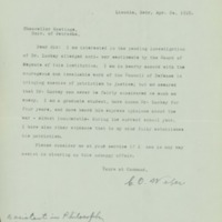 Letter, C.O. Weber to Chancellor Hastings