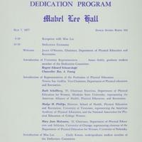 Dedication Program: Mabel Lee Hall
