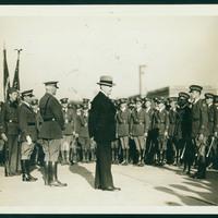 Pershing addressing ROTC students