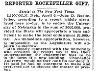 """Article, """"Reported Rockefeller Gift"""""""