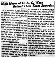 High Hopes of O. A. C. Were Behind Their Team Saturday