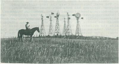 Windmills on the Watson ranch north of Scottsbluff, Nebraska.
