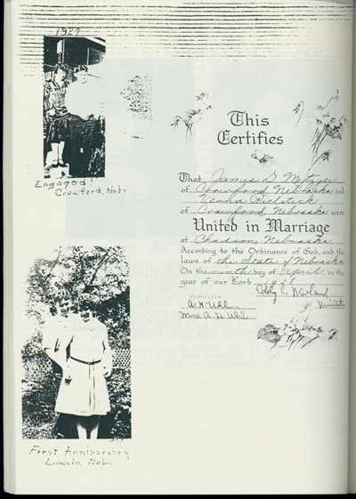 1928 marriage license for the union of Jim Metzger and Verna Pielstick.