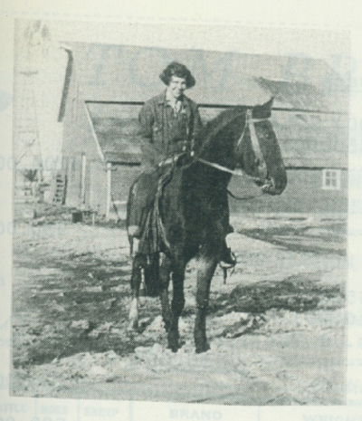 Verna atop Betsy the saddle horse.