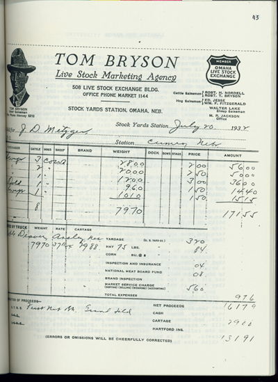 Invoice from Tom Bryson Live Stock Marketing Agency.