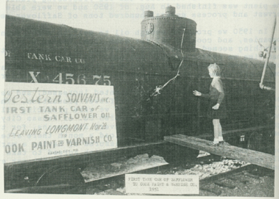 First tank car of Safflower to Cook Paint & Varnish Co., 1951.