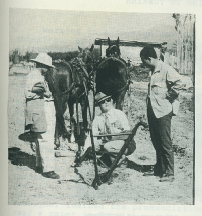 The walking plow being used to construct an irrigation ditch.