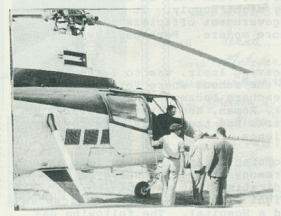 King Hussein stepping off a helicopter.