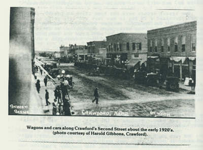 Wagons and cars along Crawford's Second Street about the early 1920's. (photo courtesy of Harold Gibbons, Crawford).
