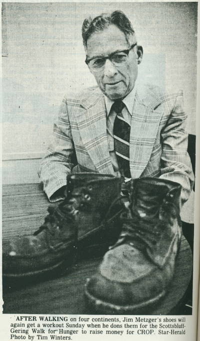 Jim Metzger poses with his shoes.