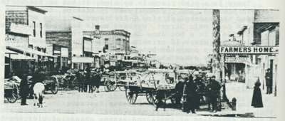 The hitching racks on Main Street in the early 1900s.