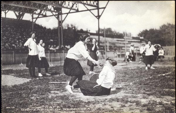 """Safe"" a woman slides into home safely during a baseball game, c.1913"