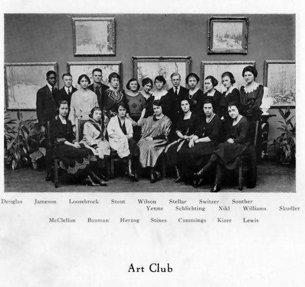A photograph of the Art Club from the 1921 Cornhusker Yearbook, page 408.