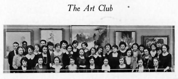 A photograph of the Art Club from the 1922 Cornhusker Yearbook, page 347.