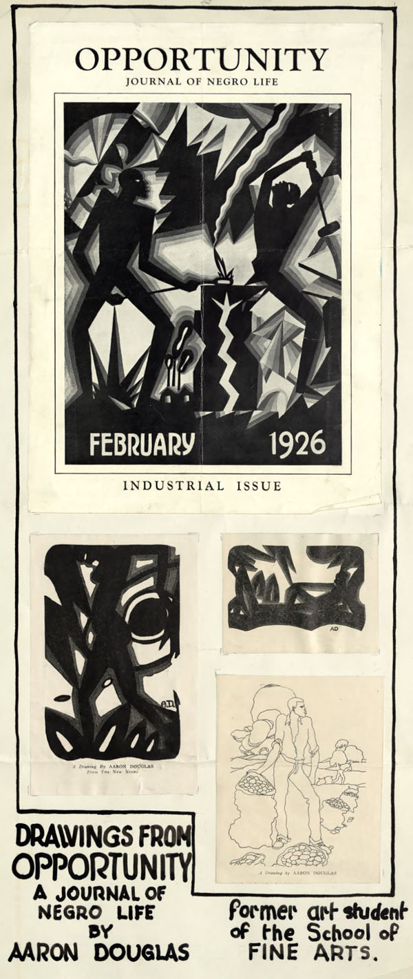 A poster made of clippings from Opportunity magazine February 1926, perhaps displayed in the University of Nebraska's Fine Arts Department.